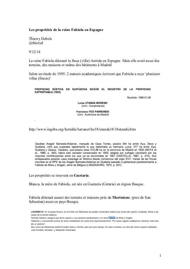 Les propriétés de la reine Fabiola en Espagne  Thierry Debels  @thieryd  9/12/14  La reine Fabiola détenait la finca (vill...