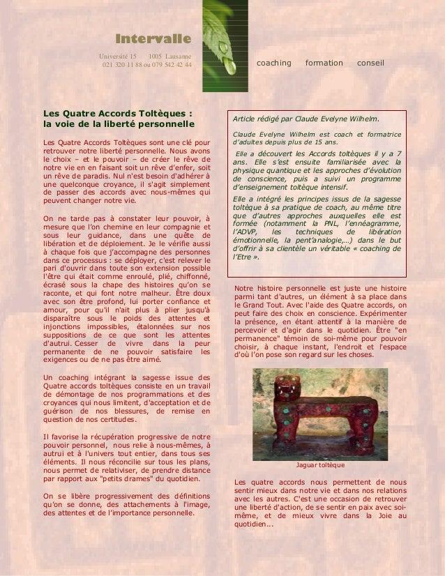 Les Quatre Accords Toltèques : la voie de la liberté personnelle Les Quatre Accords Toltèques sont une clé pour retrouver ...