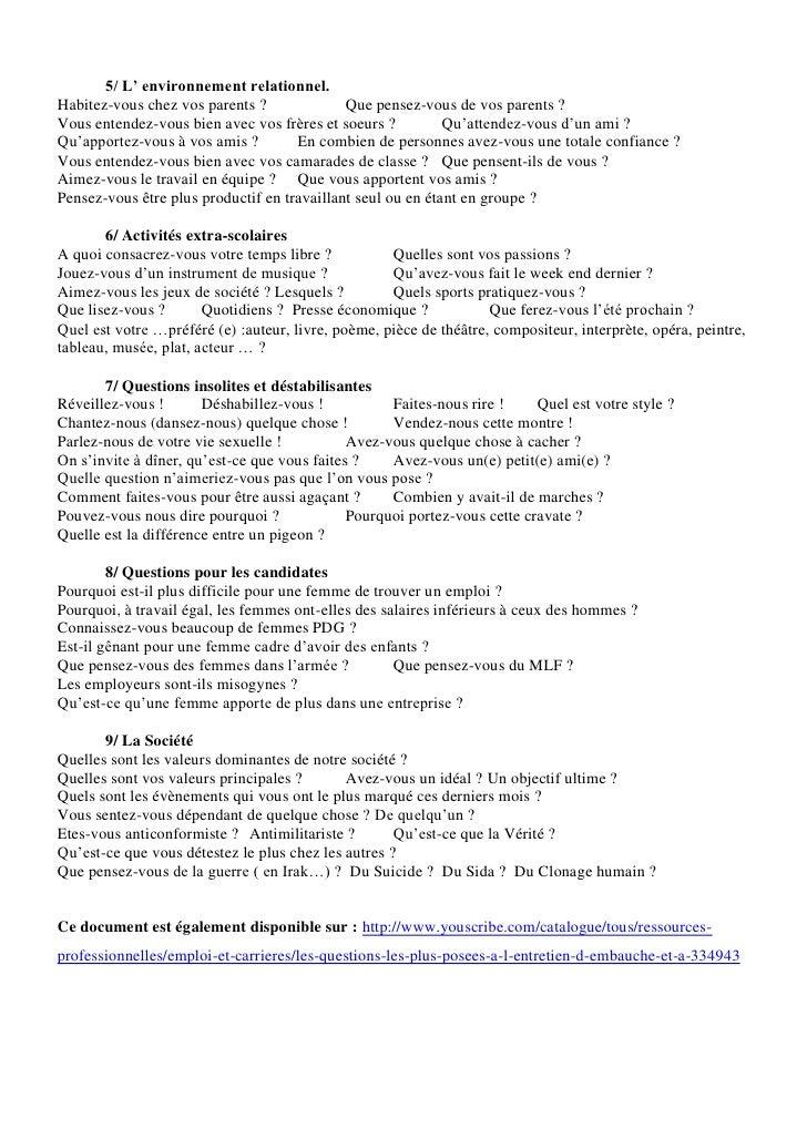 Les questions les plus posées à l'entretien d'embauche et à l'entretien de personnalité Slide 2