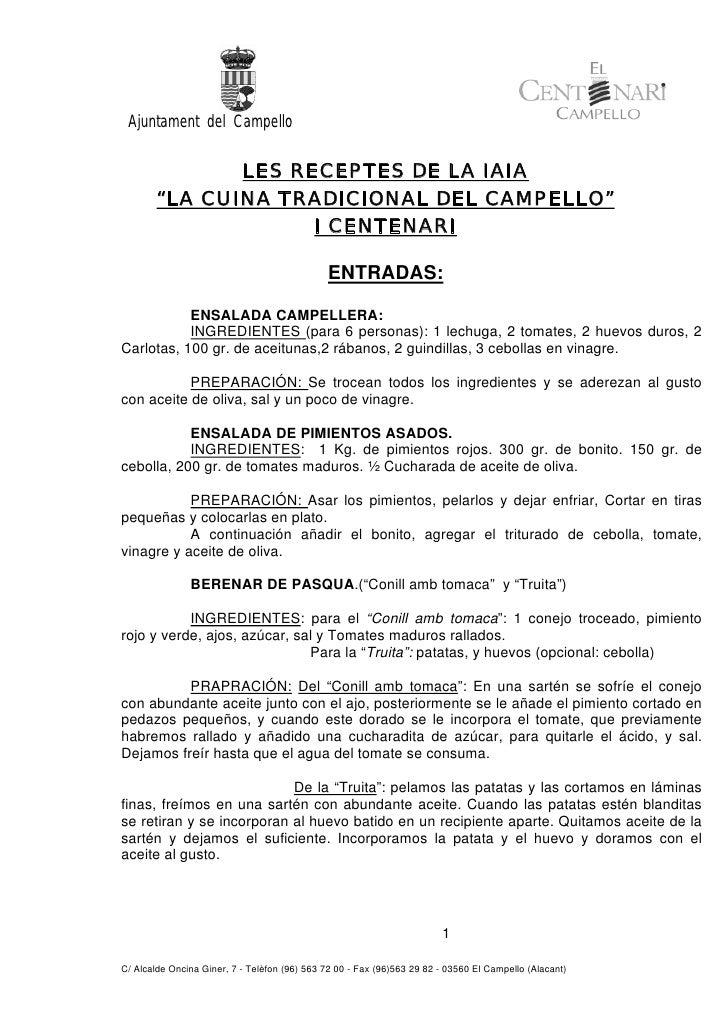 """Ajuntament del Campello                 LES RECEPTES DE LA IAIA         """"LA CUINA TRADICIONAL DEL CAMPELLO""""               ..."""