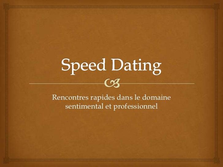 regle du speed dating