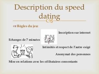 Regles du speed dating