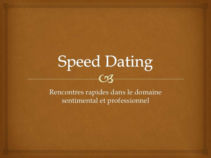 le concept du speed dating
