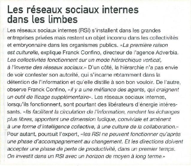 Les réseaux sociaux internes dans les limbes - Brief - décembre 2013