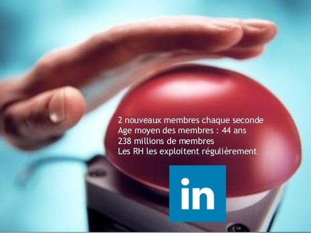 2 nouveaux membres chaque seconde Age moyen des membres : 44 ans 238 millions de membres Les RH les exploitent régulièreme...