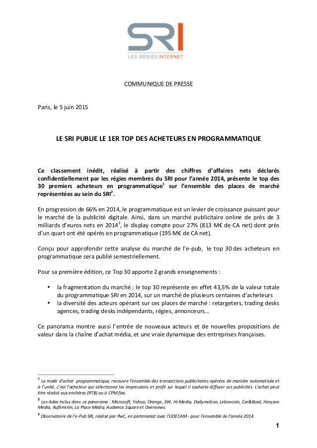 1                COMMUNIQUE  DE  PRESSE         Paris,  le  5  juin  2015            ...