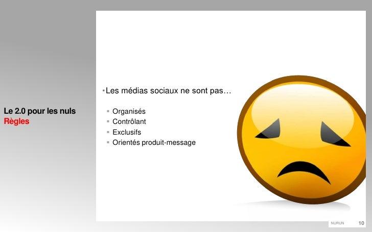 Les médias sociaux ne sont pas…<br />Organisés<br />Contrôlant<br />Exclusifs<br />Orientés produit-message<br />Le 2.0 po...