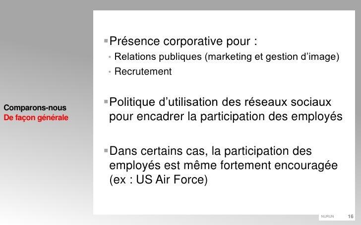 Présence corporative pour :<br />Relations publiques (marketing et gestion d'image)<br />Recrutement<br />Politique d'util...