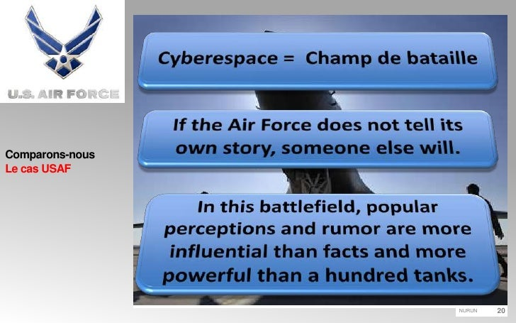 Comparons-nousLe cas USAF<br />Cyberespace =  Champ de bataille<br />If the Air Force does not tell its own story, someone...