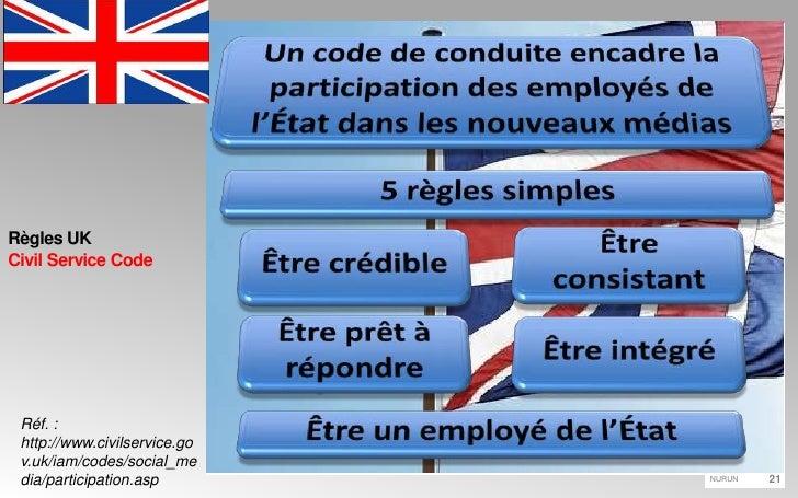 Règles UKCivil Service Code<br />Un code de conduite encadre la participation des employés de l'État dans les nouveaux méd...