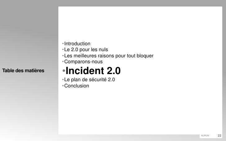 Introduction<br />Le 2.0 pour les nuls<br />Les meilleures raisons pour tout bloquer<br />Comparons-nous<br />Incident 2.0...