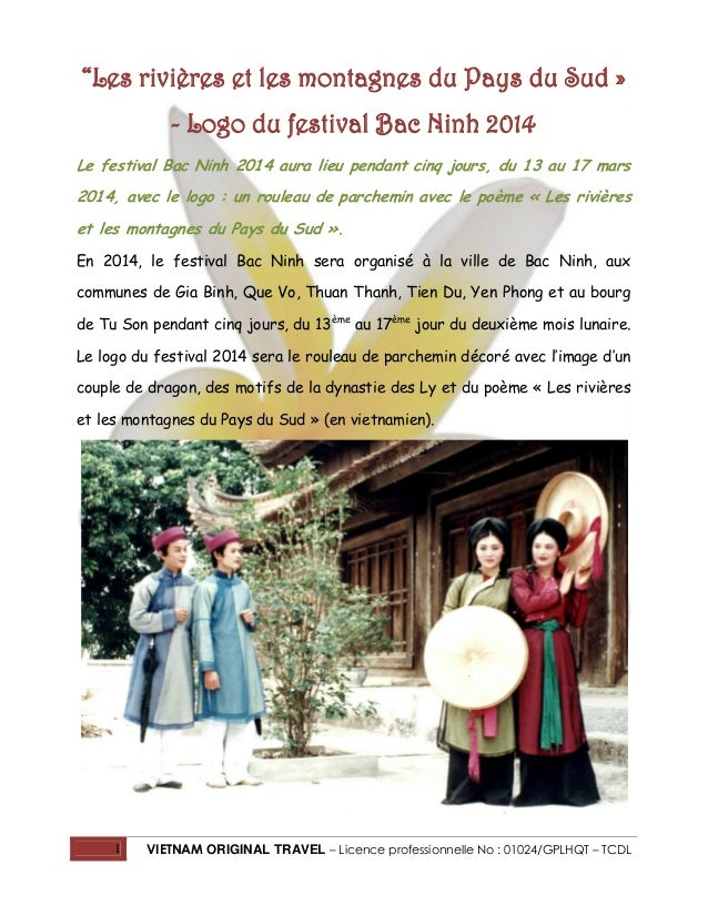 """""""Les rivières et les montagnes du Pays du Sud » - Logo du festival Bac Ninh 2014 Le festival Bac Ninh 2014 aura lieu penda..."""