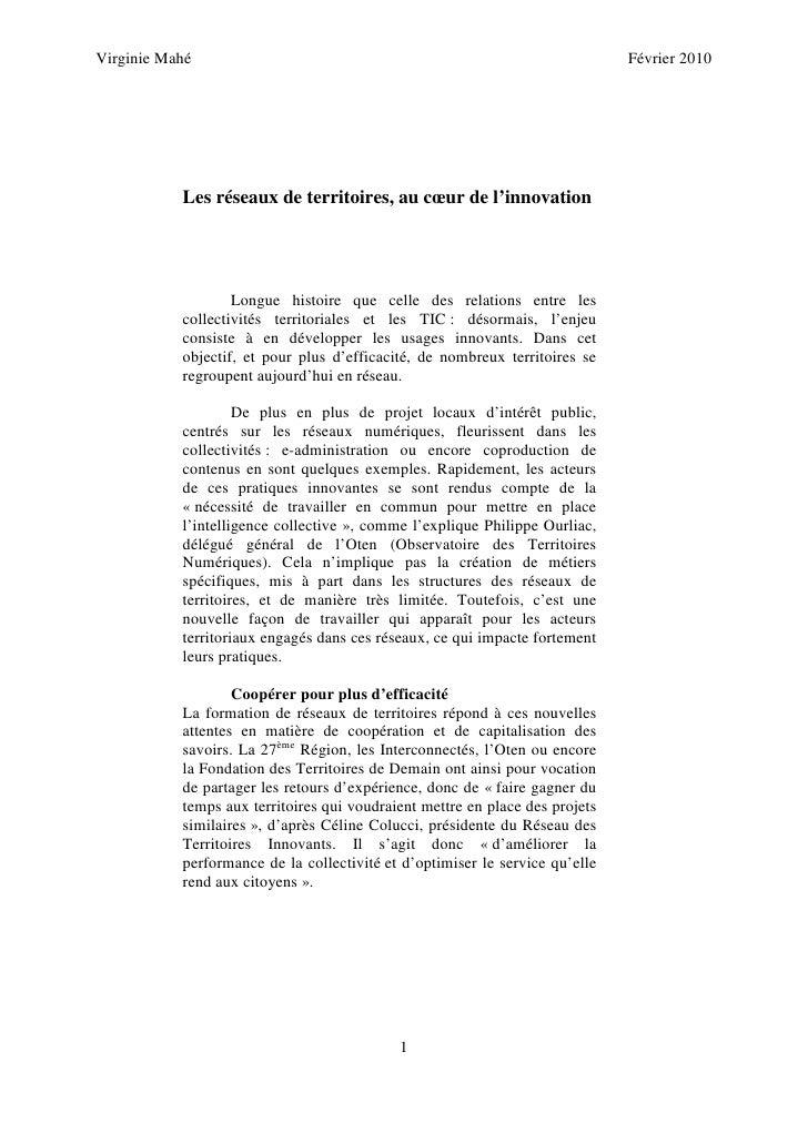 Virginie Mahé                                                                 Février 2010                Les réseaux de t...