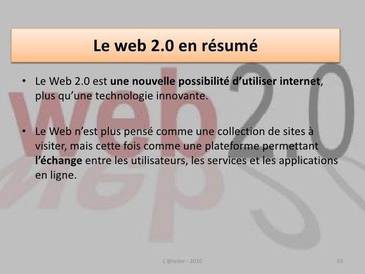 Les Réseaux sociaux <br />1. Introduction:  Internet et les français en 2010<br />2. A l'origine: le Web 2.0<br /><ul><li>...