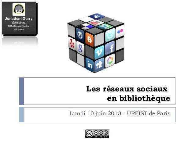 Les réseaux sociauxen bibliothèqueLundi 10 juin 2013 - URFIST de Paris