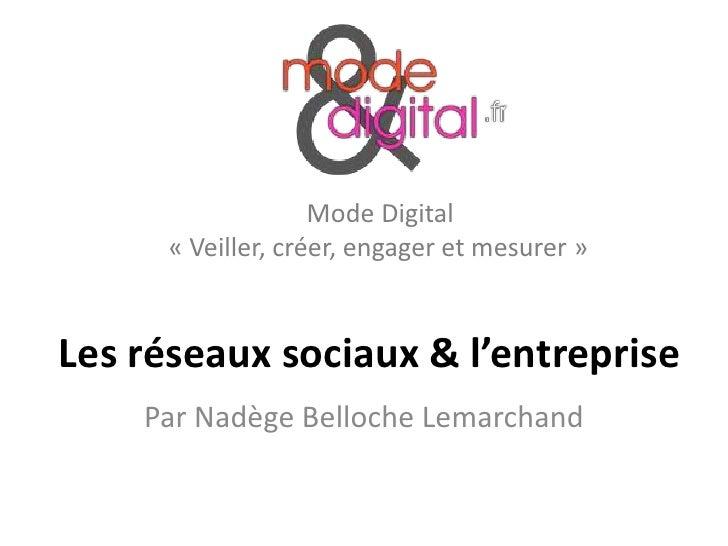 Mode Digital     « Veiller, créer, engager et mesurer »Les réseaux sociaux & l'entreprise    Par Nadège Belloche Lemarchand