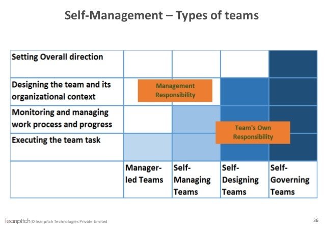 self governing teams • decentralized, self governing teams • reinforced coordination between teams • reaction to errors • the use of multi-disciplinary teams and by using.