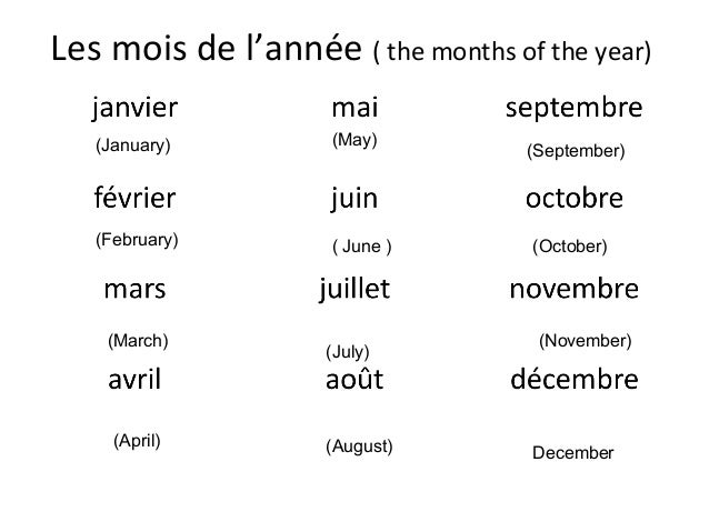 Days of the week french
