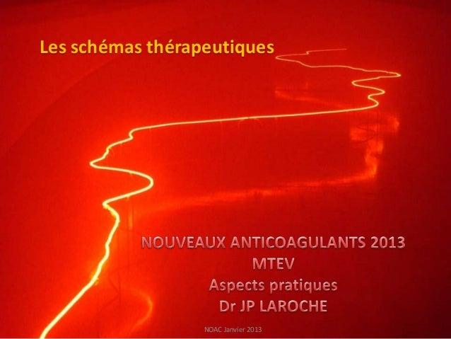 Les schémas thérapeutiques                  NOAC Janvier 2013