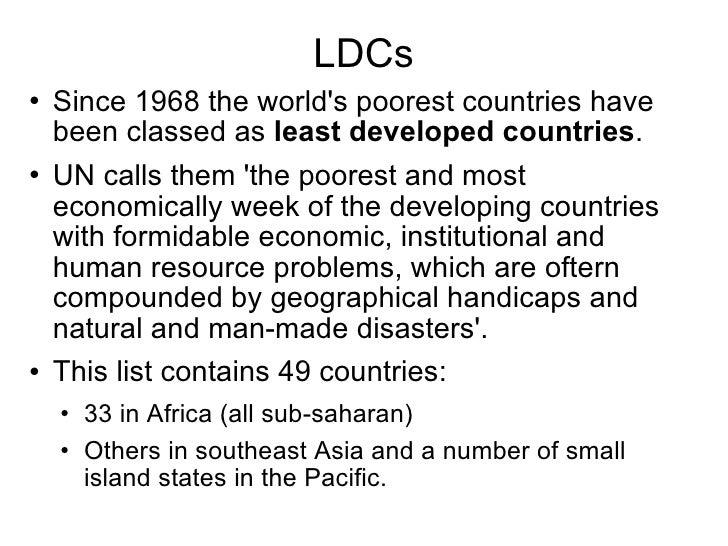 Less Developed Countries - List of underdeveloped countries
