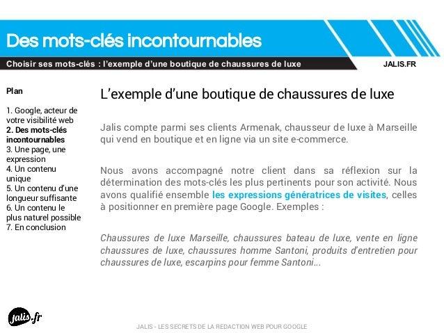 Des mots-clés incontournables Choisir ses mots-clés : l'exemple d'une boutique de chaussures de luxe Plan 1. Google, acteu...