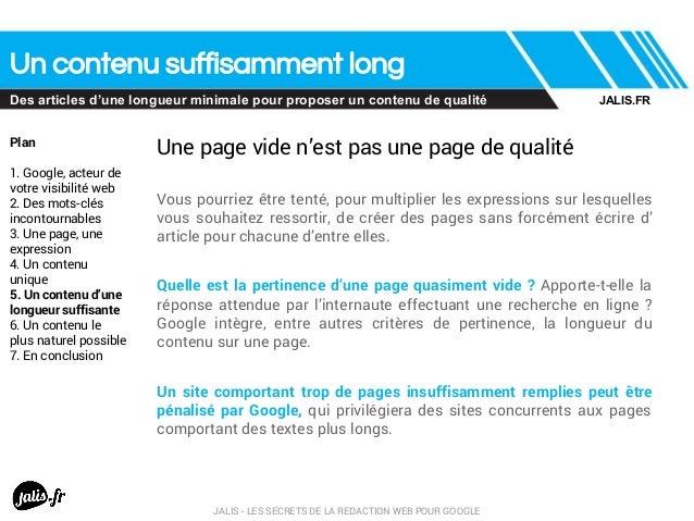 Un contenu suffisamment long Des articles d'une longueur minimale pour proposer un contenu de qualité Plan 1. Google, acte...
