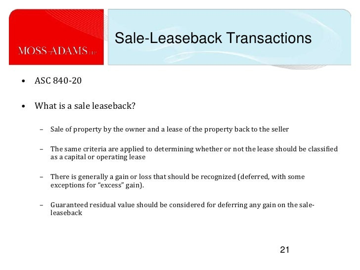 Accounting For Sale Leaseback