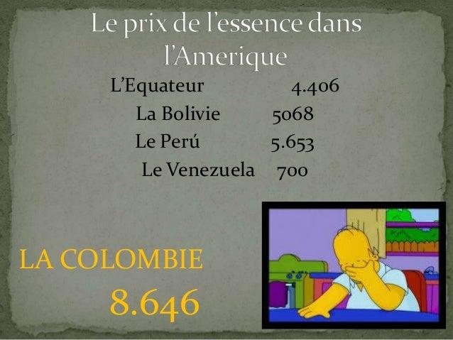 L'Equateur 4.406 La Bolivie 5068 Le Perú 5.653 Le Venezuela 700  LA COLOMBIE  8.646