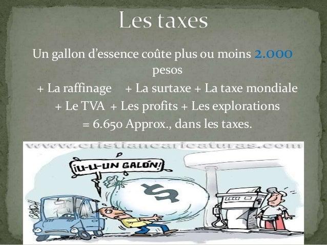 Un gallon d'essence coûte plus ou moins 2.000 pesos + La raffinage + La surtaxe + La taxe mondiale + Le TVA + Les profits ...