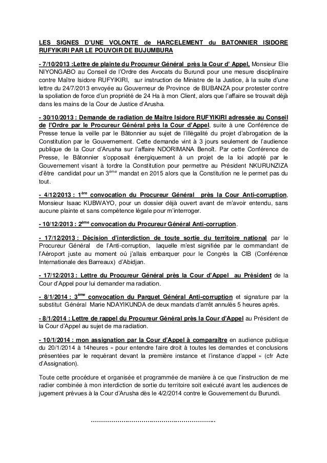 LES SIGNES D'UNE VOLONTE de HARCELEMENT du BATONNIER ISIDORE RUFYIKIRI PAR LE POUVOIR DE BUJUMBURA - 7/10/2013 :Lettre de ...