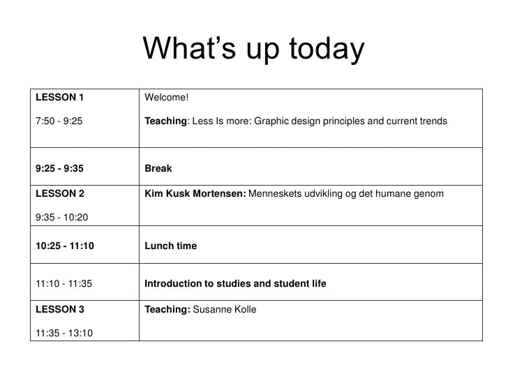 What's up todayLESSON 1        Welcome!7:50 - 9:25     Teaching: Less Is more: Graphic design principles and current trend...