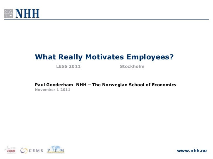 What Really Motivates Employees?        LESS 2011               StockholmPaul Gooderham NHH – The Norwegian School of Econ...