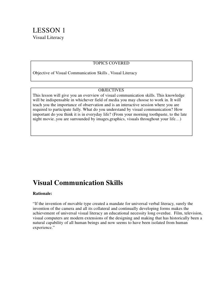 LESSON 1Visual Literacy                                  TOPICS COVEREDObjective of Visual Communication Skills , Visual L...