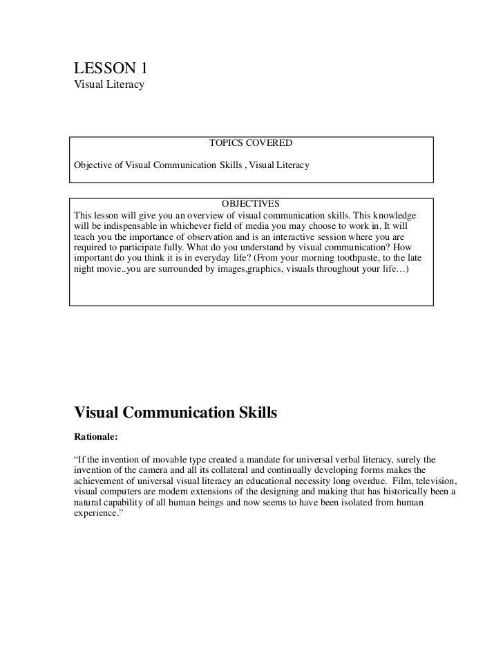 LESSON 1Visual Literacy                                  TOPICS COVEREDObjective of Visual Communication Skills , Visual L...