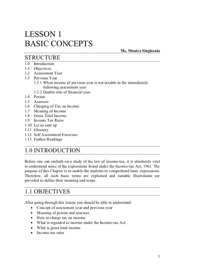LESSON 1BASIC CONCEPTS                                                          Ms. Monica SinghaniaSTRUCTURE1.0    Introd...