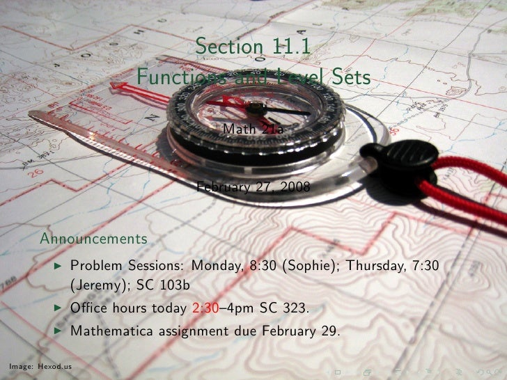 Section 11.1                        Functions and Level Sets                                      Math 21a                ...