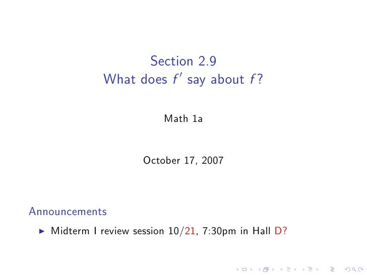 Section 2.9              What does f say about f ?                            Math 1a                         October 17, ...