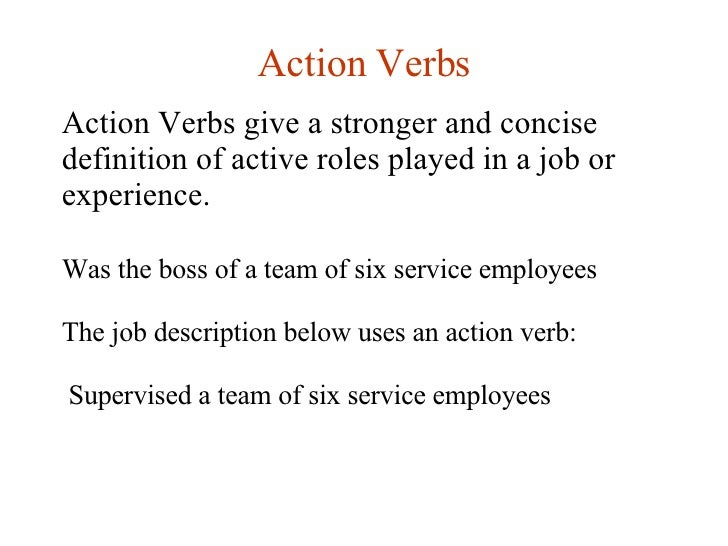 Action Verb Resume 100 active resume words words to use on a