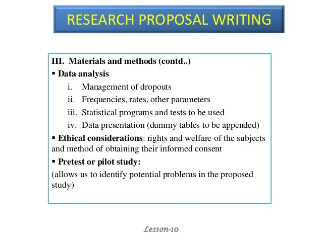 Lesson 10 Research Proposal Writing