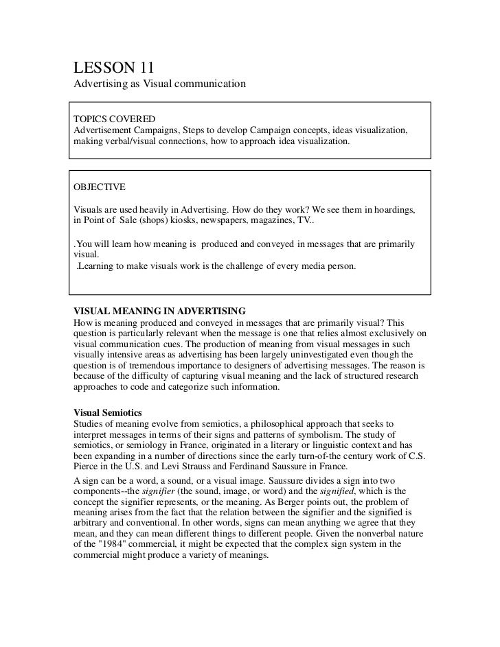 LESSON 11Advertising as Visual communicationTOPICS COVEREDAdvertisement Campaigns, Steps to develop Campaign concepts, ide...