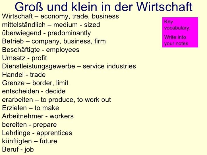 Groß und klein in der Wirtschaft Wirtschaft – economy, trade, business mittelst ändlich – medium - sized überwiegend - pre...