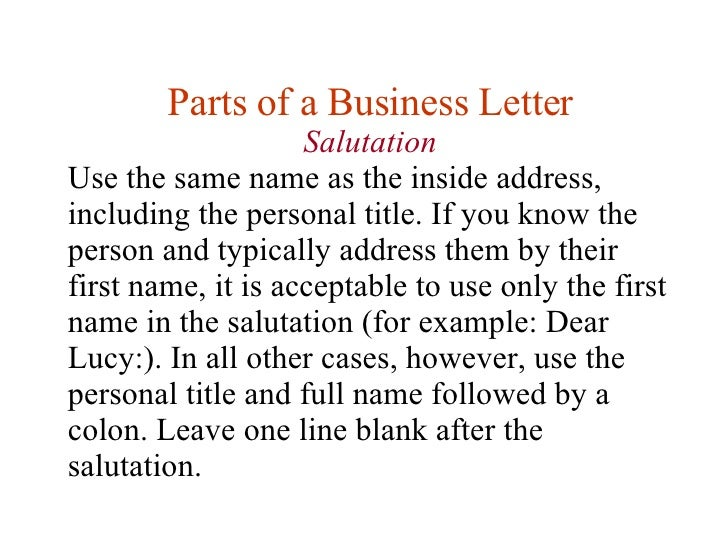 Salutation; 14. Parts Of A Business Letter ...