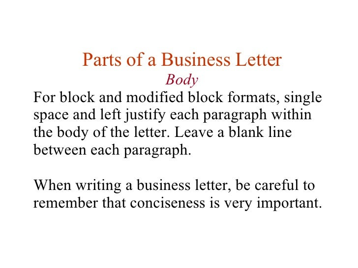 body 17 parts of a business letter body for block and modified block formats