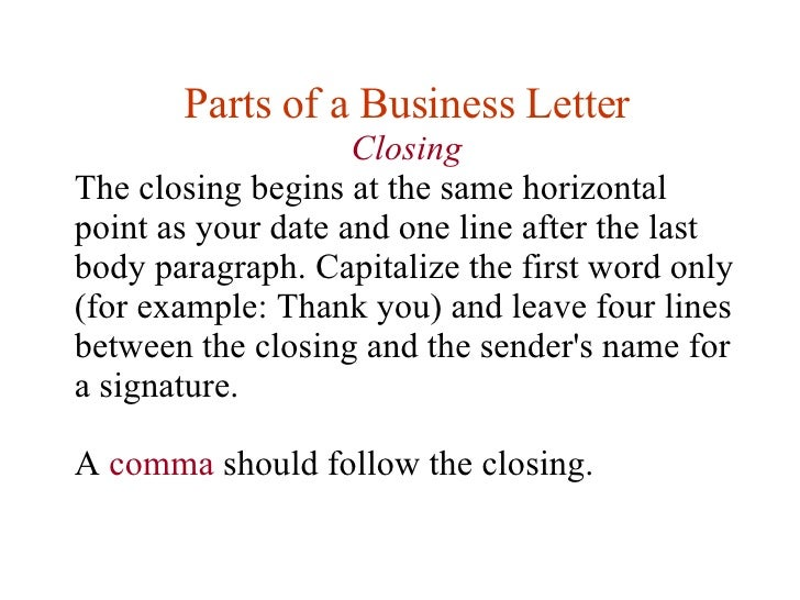 closing 21 parts of a business letter