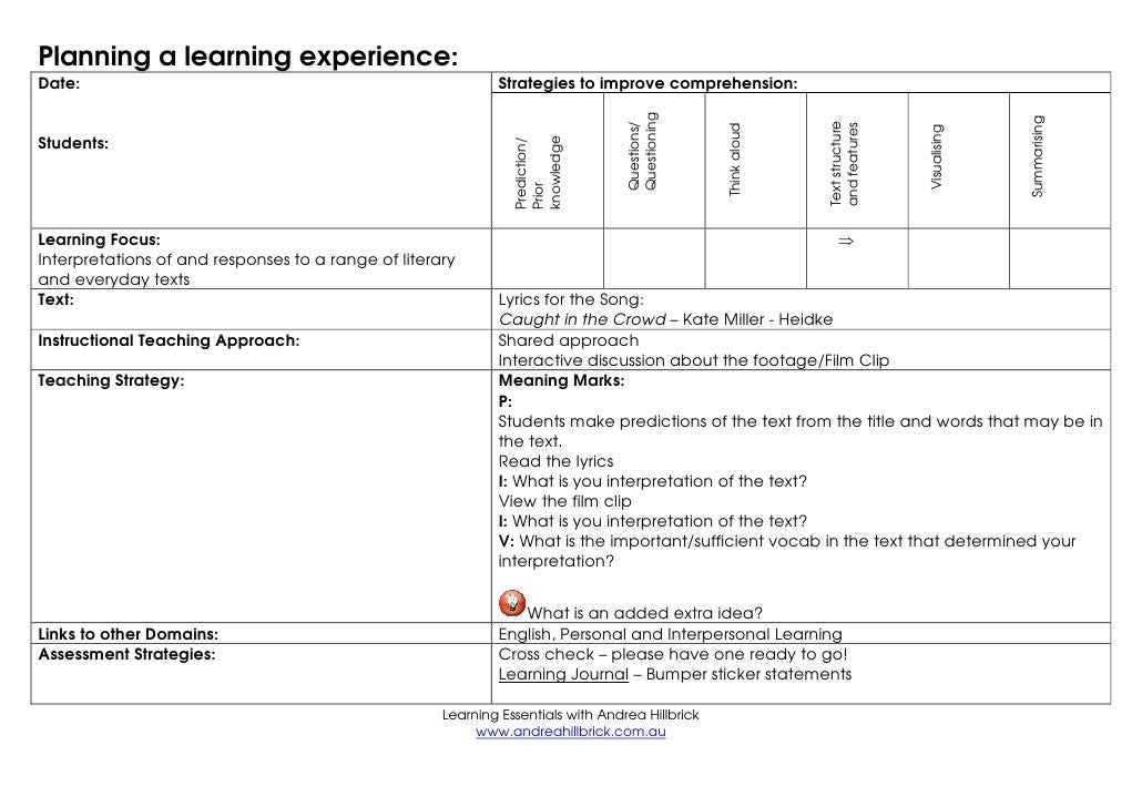 Planning a learning experience:Date:                                                        Strategies to improve comprehe...