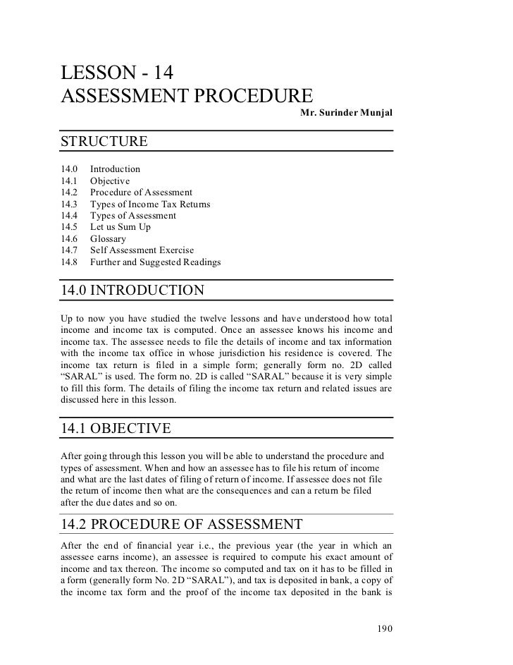 LESSON - 14ASSESSMENT PROCEDURE                                                              Mr. Surinder MunjalSTRUCTURE1...