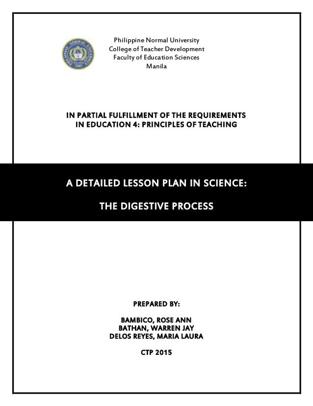 Philippine Normal University College of Teacher Development Faculty of Education Sciences Manila IN PARTIAL FULFILLMENT OF...