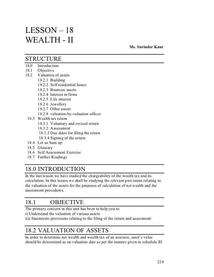 LESSON – 18WEALTH - II                                                                Ms. Surinder KaurSTRUCTURE18.0    In...