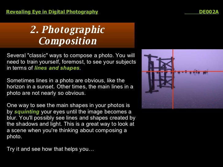 """2. Photographic Composition Revealing Eye in Digital Photography   DE002A Several """"classic"""" ways to compose a ph..."""