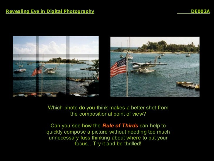 Revealing Eye in Digital Photography   DE002A Which photo do you think makes a better shot from the compositional point of...